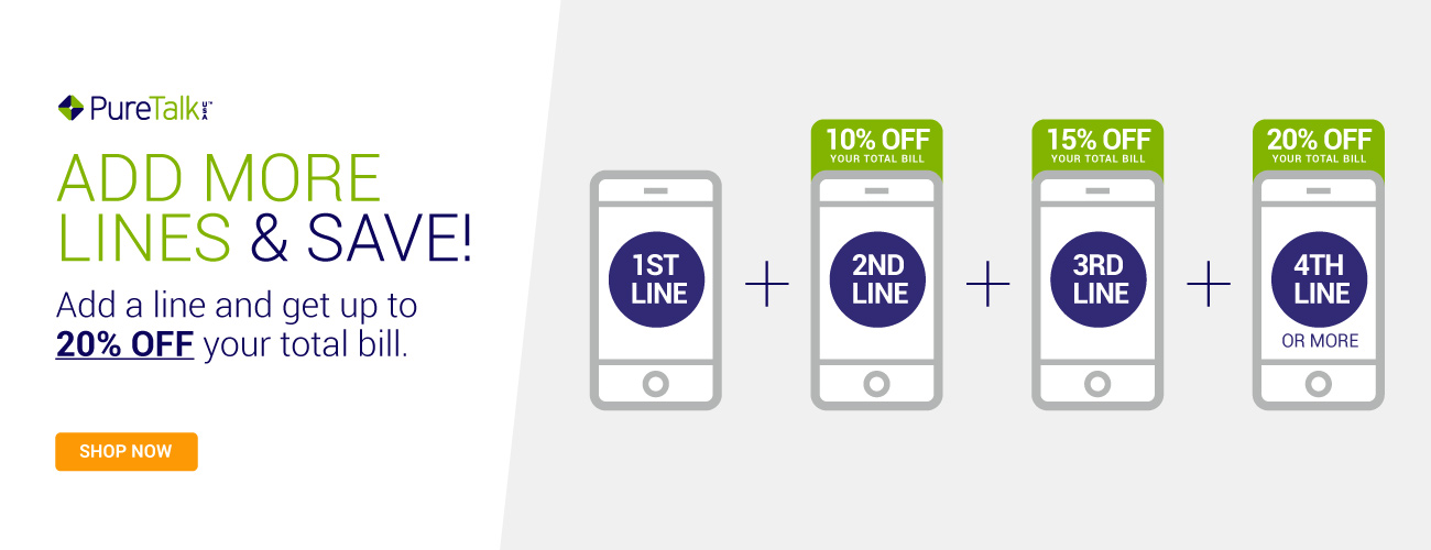Pure TalkUSA Add More Lines and Save up to 20% off Your Total Bill